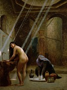 Nubian; Slave; Rays; Bathing; Female; Woman Framed Prints - The Moorish Bath Framed Print by Jean Leon Gerome