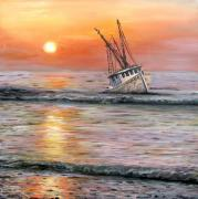 Shrimp Boat Paintings - The Mop by Judy Merrell