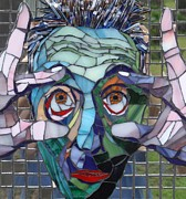 Mosaic Portrait Glass Art - The Morning After by Gila Rayberg