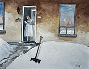 Montreal Winter Scenes Paintings - The Morning Paper by Reb Frost