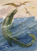 National Geographic Society Art Prints - The Mosasaurus Species Lived In Kansas Print by Charles R. Knight