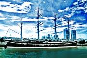 Wooden Ship Digital Art Posters - The Moshulu Poster by Bill Cannon