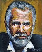 Portraits Glass Posters - The Most Interesting Man In The World Poster by Buffalo Bonker