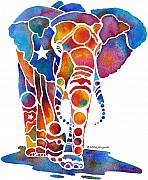 Watercolor  Paintings - The Most Whimsical Elephant by Jo Lynch
