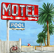 Vintage Painter Painting Prints - The Motel Sign Print by Debbie Brown