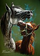 Arabian Horses Prints - The Motherhood Print by Angel  Tarantella