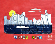Skylines Mixed Media Framed Prints - The Motor City - Detroit Michigan Skyline License Plate Art by Design Turnpike Framed Print by Design Turnpike