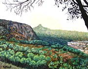 Sierra Leone Prints - The Mountain above Kabala Sierre Leone Print by Caroline Street