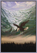 American Eagle Paintings - The Mountain by Kerdy Mitcho