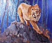 Puma Paintings - The mountain lion by Yulia Hobriy