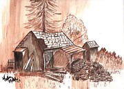 Idaho Scenery Painting Prints - The Mountain Mans House Print by Windy Mountain