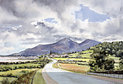 Overcast Painting Framed Prints - The Mountains of Mourne from near Dundrum  Framed Print by Lydia de Burgh