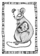 Animals Drawings Posters - The Mouse and The Sousaphone Player Poster by Zelde Grimm