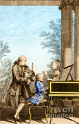 Music Time Posters - The Mozart Family On Tour, 1763 Poster by Photo Researchers