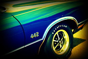 Back View Prints - The Muscle Car Oldsmobile 442 Print by Susanne Van Hulst