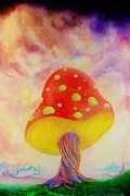 Pinstripes Paintings - The Mushroom by Ben Christianson