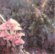 Fauna Painting Metal Prints - The Mushrooms Life Metal Print by Saadon Bin Saad