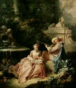 Romantic   Of Couple Paintings - The Music Lesson by Francois Boucher
