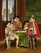 Table Cloth Painting Metal Prints - The Musketeers Tale Metal Print by Adolphe Alexandre Lesrel