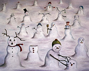 Bizarre Paintings - The Mystery Revealed on Snowman Hill by Leah Saulnier The Painting Maniac