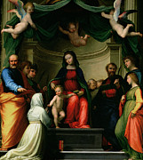 Enthroned Prints - The Mystic Marriage of St Catherine of Siena with Saints Print by Fra Bartolommeo - Baccio della Porta