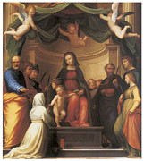 Saint Catherine Posters - The Mystical Marriage of Saint Catherine Poster by Fra Bartolomeo