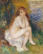Pierre Renoir Framed Prints - The Naiad Framed Print by Pierre Auguste Renoir