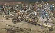 Golgotha Framed Prints - The nail for the Feet Framed Print by Tissot