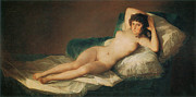 Fine Art  Of Women Painting Posters - The Naked Maja Poster by Francisco Goya