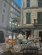 Horse And Buggy Painting Posters - The Napolean House Poster by Amanda Ladner