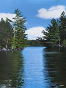 Canoes Paintings - The Narrows of Muskoka by Kenneth M  Kirsch