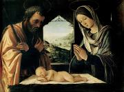 Nativity Paintings - The Nativity by Lorenzo Costa