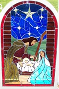 Religious Art Glass Art - The Nativity of Christ by Gladys Espenson