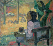 Paul Gauguin Posters - The Nativity Poster by Paul Gauguin