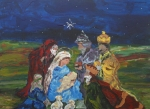 People Painting Framed Prints - The Nativity Framed Print by Reina Resto