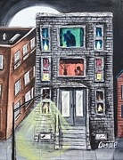 Landscapes Painting Originals - The Neighborhood at Night by Camille Roman