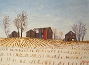 Pa Barns Prints - The neighboring corn field Print by Bibi Snelderwaard Brion