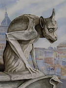 Gargoyle Framed Prints - The Nervous Sentry Framed Print by Sam Sidders