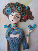 Acrylic Polymer Clay Posters - The Nest Maiden Poster by Tammy Durham