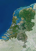 North Sea Posters - The Netherlands, Satellite Image Poster by Planetobserver