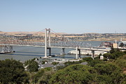 San Pablo Bay Framed Prints - The New Alfred Zampa Memorial Bridge and The Old Carquinez Bridge . 5D16745 Framed Print by Wingsdomain Art and Photography