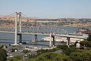 San Pablo Bay Framed Prints - The New Alfred Zampa Memorial Bridge and The Old Carquinez Bridge . 5D16747 Framed Print by Wingsdomain Art and Photography