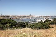 San Pablo Bay Framed Prints - The New Alfred Zampa Memorial Bridge and The Old Carquinez Bridge . 5D16748 Framed Print by Wingsdomain Art and Photography