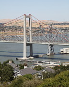 San Pablo Bay Framed Prints - The New Alfred Zampa Memorial Bridge and The Old Carquinez Bridge . 5D16749 Framed Print by Wingsdomain Art and Photography