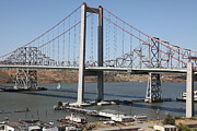 Carquinez Bridge Framed Prints - The New Alfred Zampa Memorial Bridge and The Old Carquinez Bridge . 5D16797 Framed Print by Wingsdomain Art and Photography