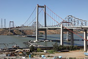 San Pablo Bay Framed Prints - The New Alfred Zampa Memorial Bridge and The Old Carquinez Bridge . 5D16806 Framed Print by Wingsdomain Art and Photography