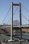 Carquinez Strait Metal Prints - The New Alfred Zampa Memorial Bridge and The Old Carquinez Bridge . 5D16811 Metal Print by Wingsdomain Art and Photography
