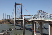 Vallejo Prints - The New Alfred Zampa Memorial Bridge and The Old Carquinez Bridge . 5D16815 Print by Wingsdomain Art and Photography