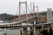 Wings Domain Art - The New Alfred Zampa Memorial Bridge and The Old Carquinez Bridge . 7D8915 by Wingsdomain Art and Photography