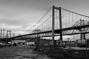 Black And White Photographs Photos - The New Alfred Zampa Memorial Bridge and The Old Carquinez Bridge . Black and White . 7D8828 by Wingsdomain Art and Photography